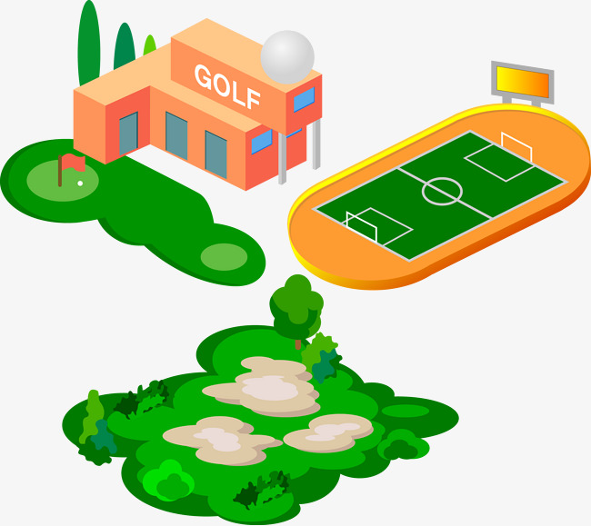 650x579 Stadium Stadium Golf Vector Material, Golf Course, Cartoon Vector