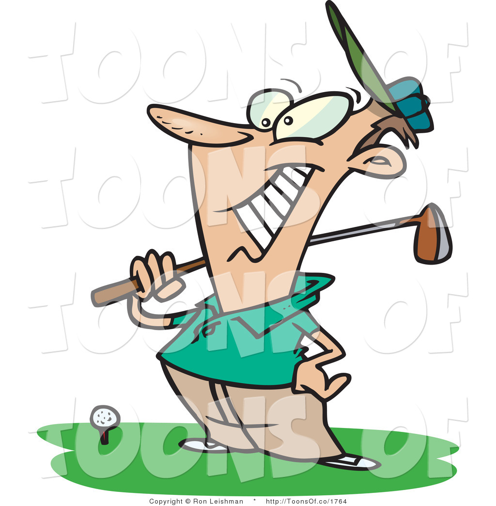 1024x1044 Vector Cartoon Of A Happy Male Golfer Man Near A Ball, Holding His