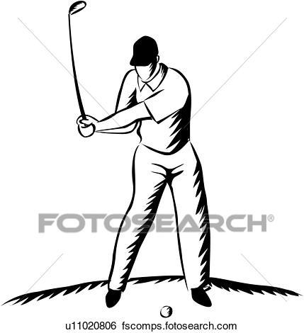 429x470 Stock Illustration Of Golfer Swinging Golf Club U11020806