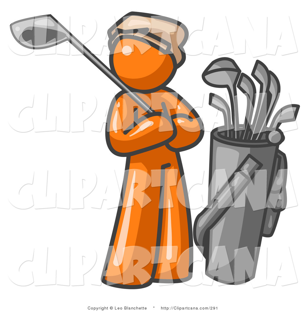 1024x1044 Vector Clip Art Of A Sporty Orange Man Standing By His Golf Clubs