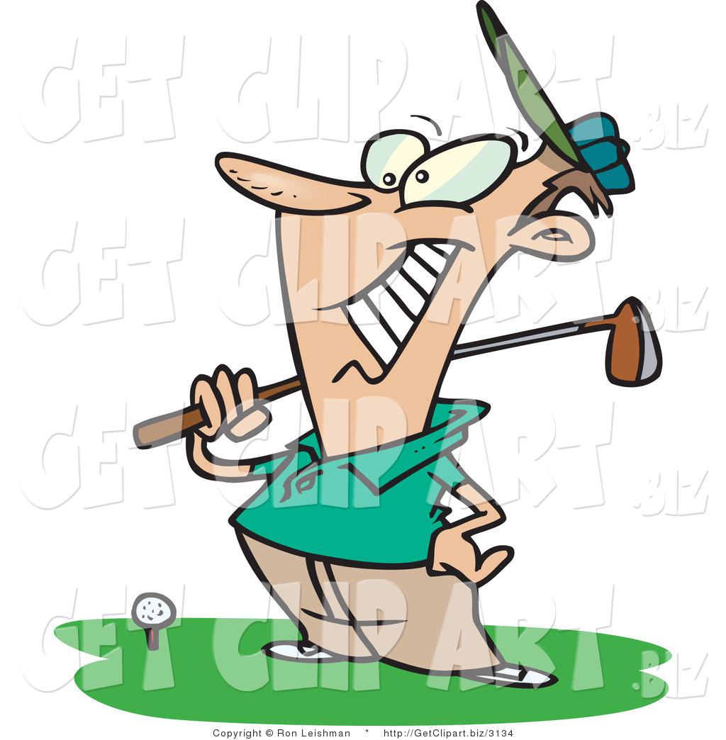 1024x1044 Clip Art Of A Proud Male Golfer Near A Ball, Holding His Golf Club