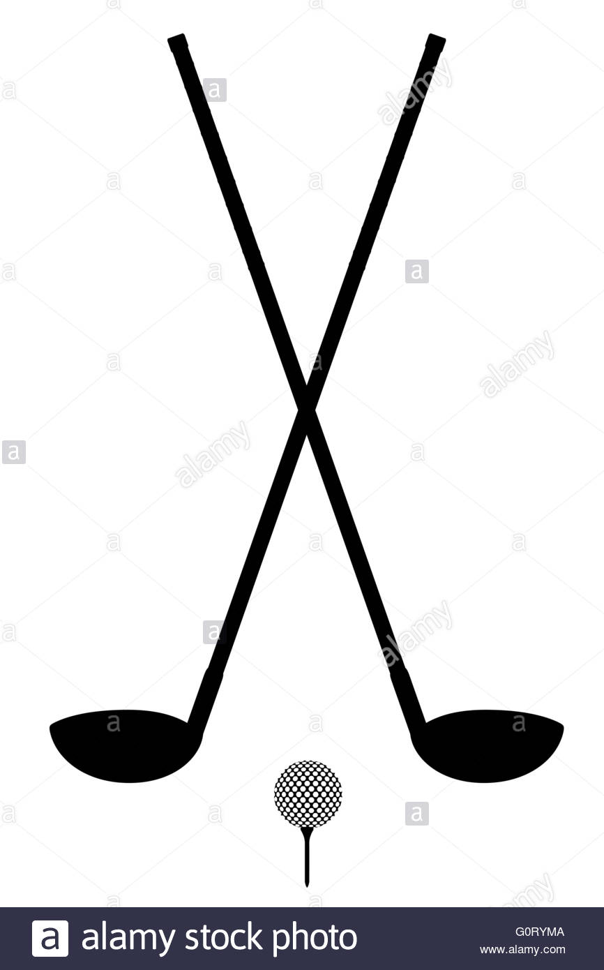 866x1390 Golf Club And Ball Silhouette Outline Vector Illustration Isolated
