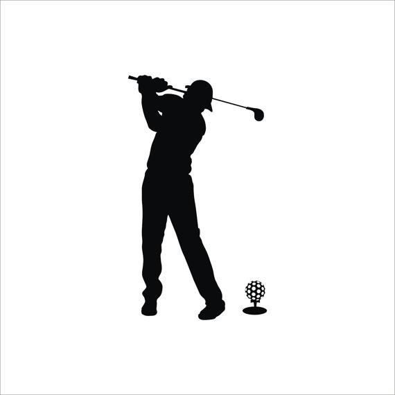 570x570 Golf Club And Ball Sport Game Man Silhouette Vinyl Wall Decal