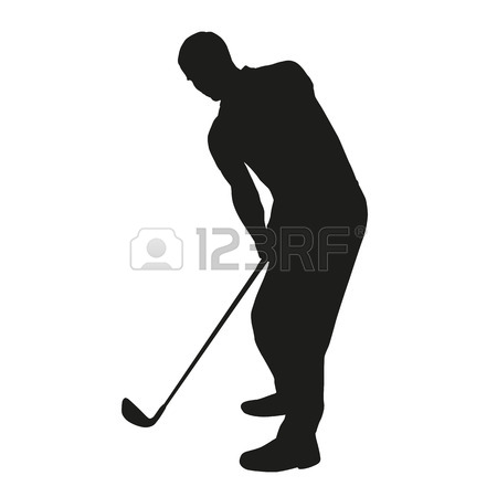 450x450 Golf Swing. Vector Golfer Silhouette Royalty Free Cliparts