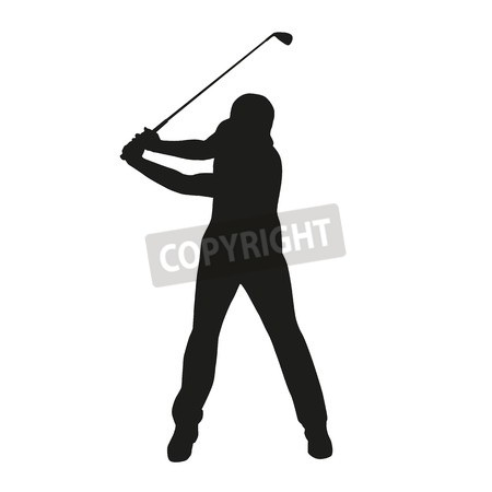 450x450 Photo Golf Swing. Isolated Vector Silhouette