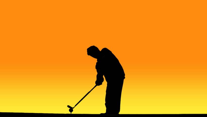 852x480 Silhouette Of Golfer Swinging Club, Hitting Ball, Against Sunset