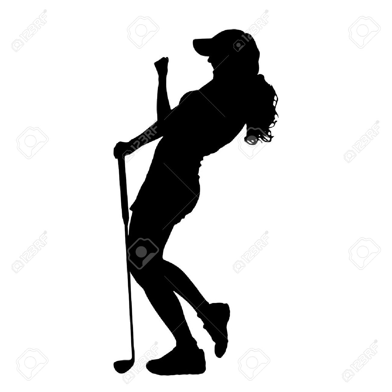 1300x1300 Vector Silhouette Of The Woman Who Plays Golf. Royalty Free