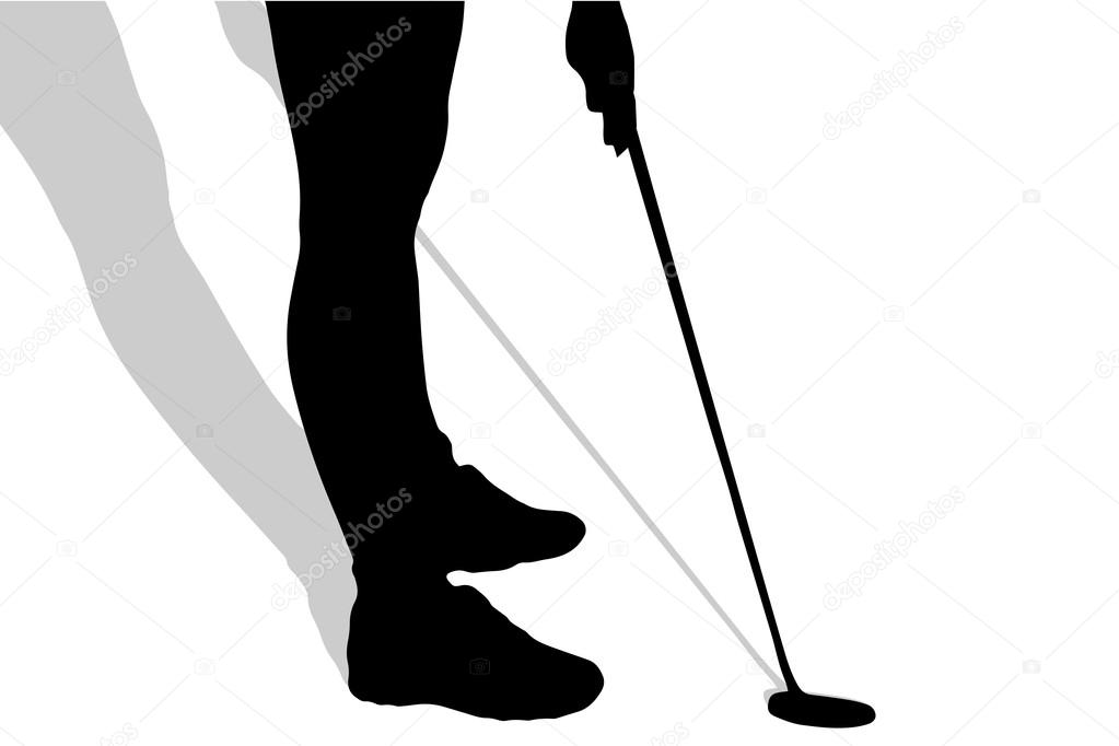 1023x682 Silhouette Of Legs Woman Plays Golf. Stock Vector Majivecka