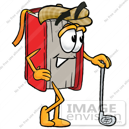 450x450 Clip Art Graphic Of A Book Cartoon Character Leaning On A Golf