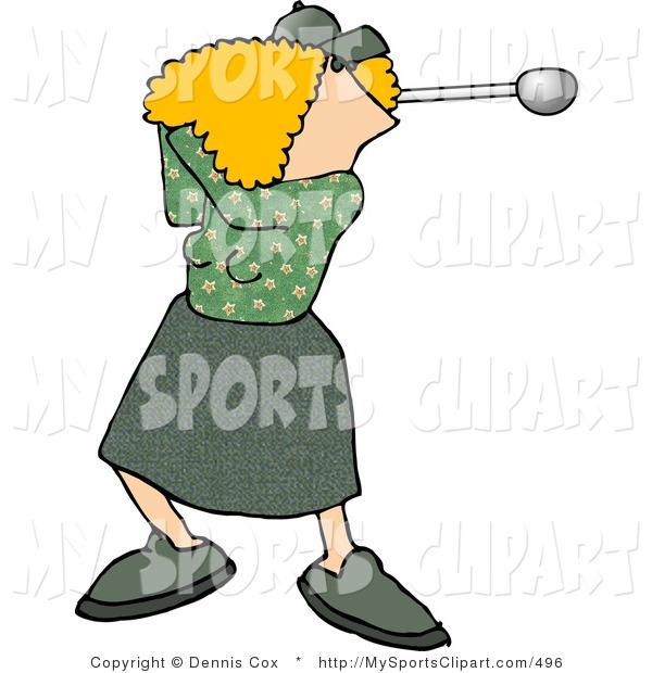 600x620 Sports Clip Art Of A Female Golfer Swinging A Golf Club By Djart