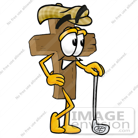 450x450 Cliprt Graphic Of Wooden Cross Cartoon Character Leaning On