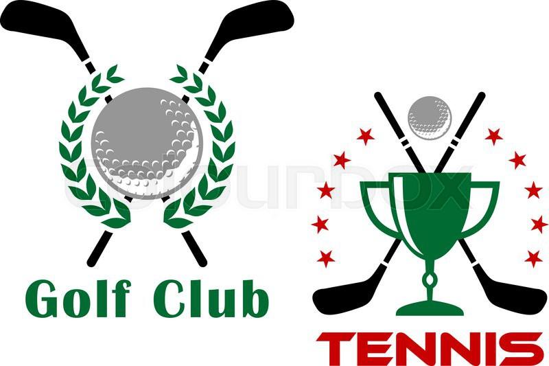 800x533 Golf Club Heraldic Logo Or Emblems Depicting Golf Balls And Trophy
