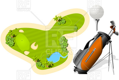 400x271 Putting Green, Golf Bag And Ball Royalty Free Vector Clip Art