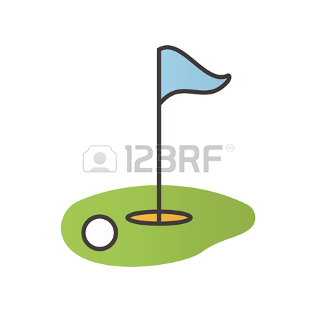 450x450 Golf Course Color Icon. Ball And Flagstick In Hole. Isolated