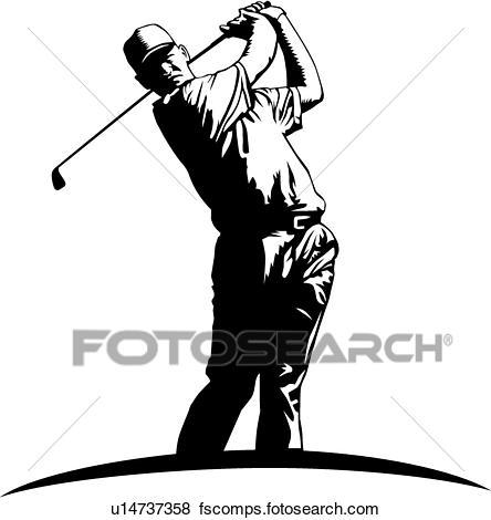 444x470 Clip Art Of Golfer U14737358