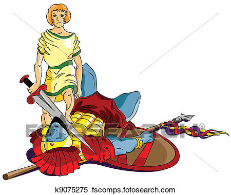 450x380 Clipart Of David And Goliath K9075275