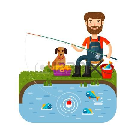 450x450 Fisherman Clipart Fishing Pond