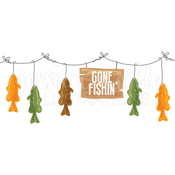 600x600 Gone Fishing Clipart