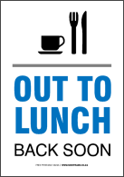 137x195 To Lunch Sign For Office Door