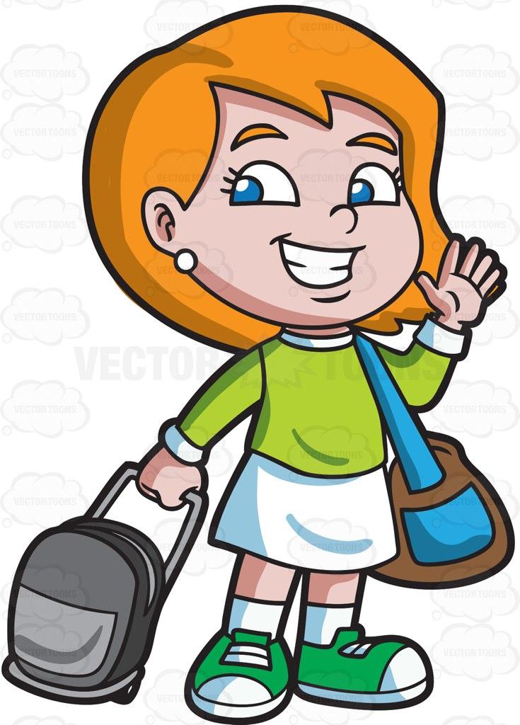 735x1024 A Girl Saying Goodbye Before She Travels Cartoon Clipart