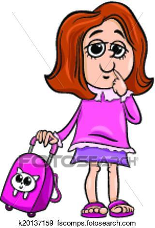 320x470 Clip Art Of Grade School Girl Cartoon Illustration K20137159