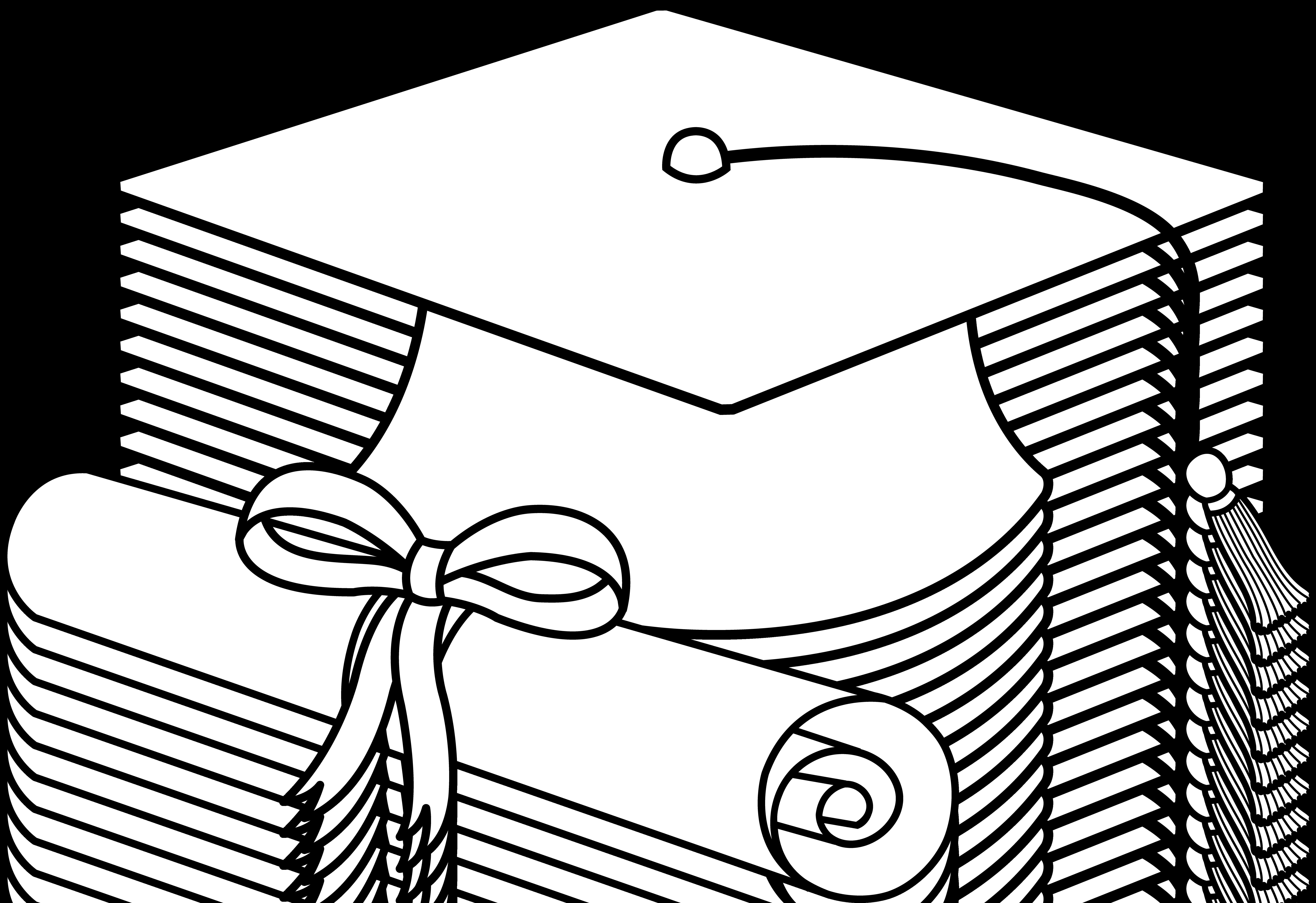 7334x5034 Graduation Cap Line Art