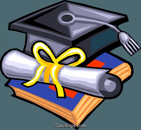 480x441 Graduation Hat And Diploma Royalty Free Vector Clip Art