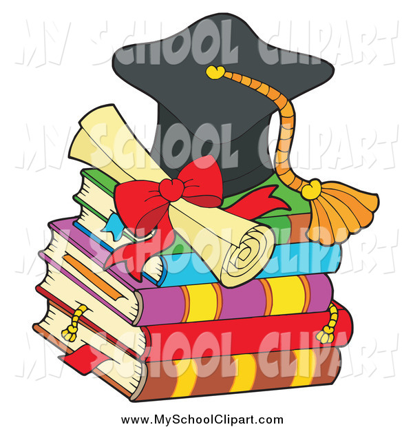600x620 Clip Art Of A Graduation Cap With A Diploma On Top Of Books By