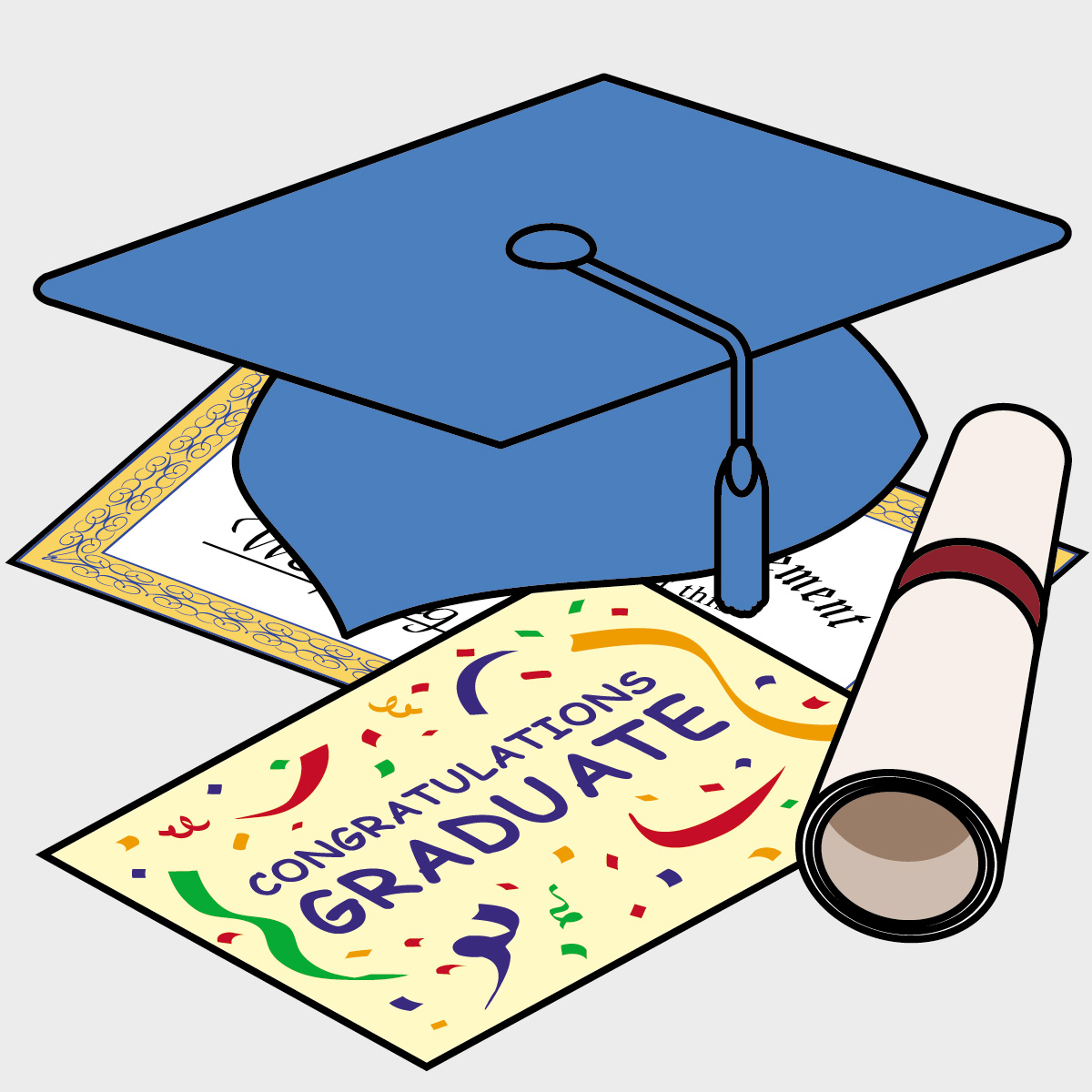1200x1200 Graduation Cap And Gown Clipart