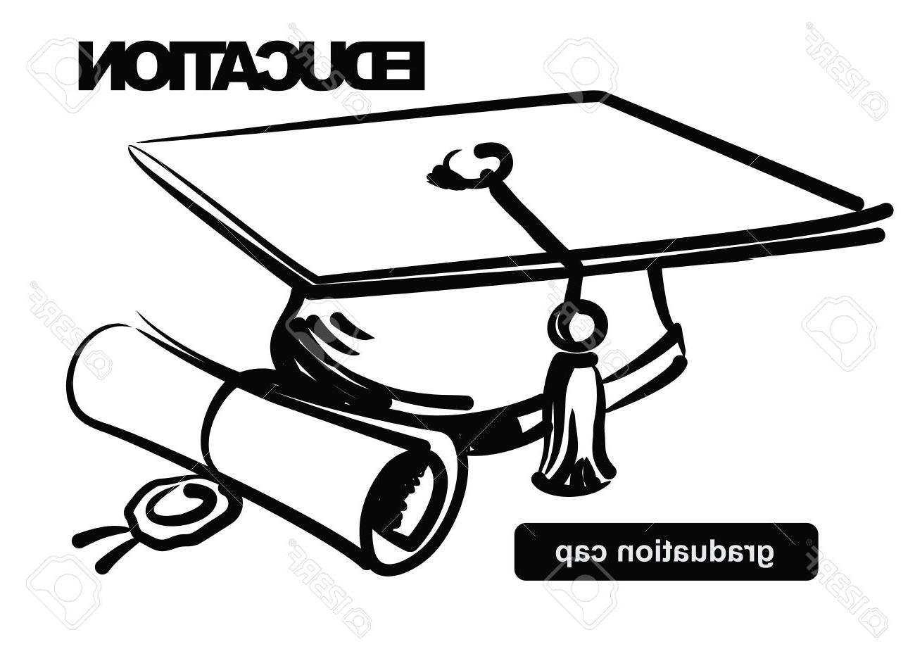 1300x922 Best HD Illustration Of Graduation Cap Stock Vector Student Drawing