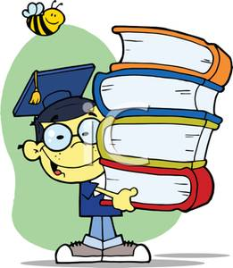 261x300 Smiling Child In a Graduation Cap and Gown with a Stack of Books