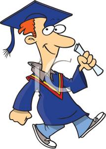 215x300 Smiling Man In a Blue Cap and Gown Holding a Diploma