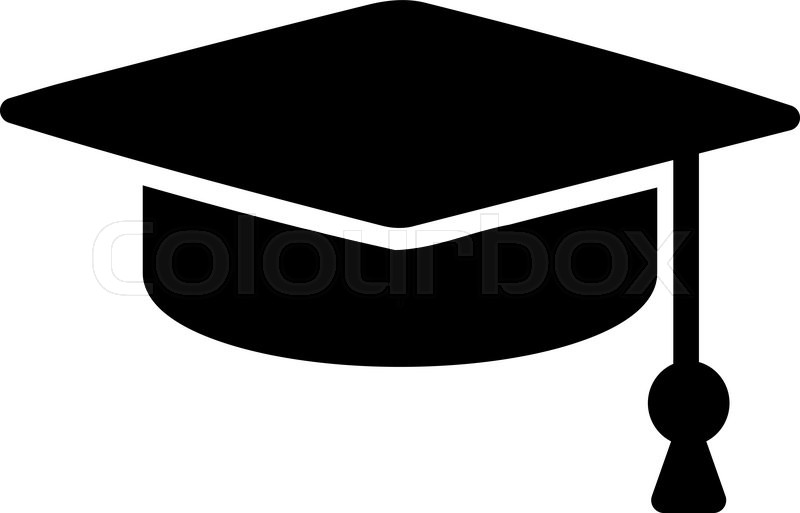 800x513 Education Hat Black White. Graduation Hat And Education Icon, Box