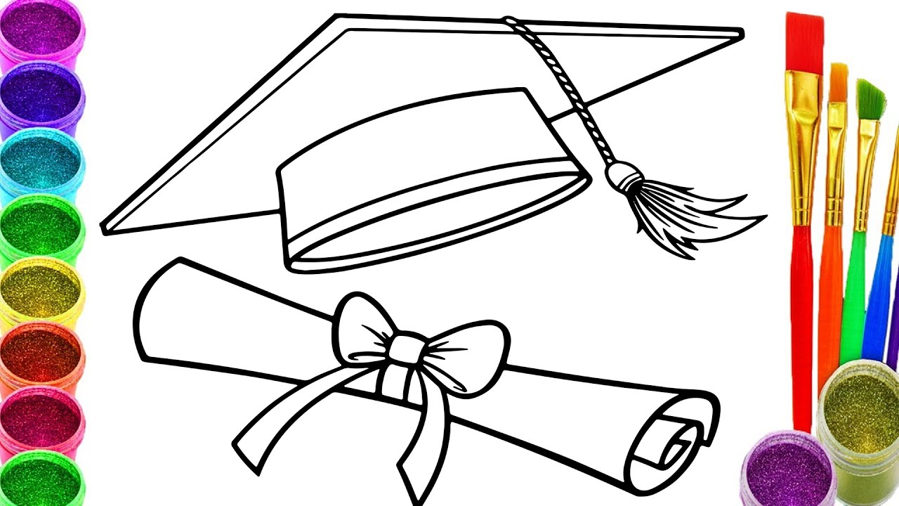 1280x720 How To Draw Graduation Cap Coloring Book Graduation Cap Coloring