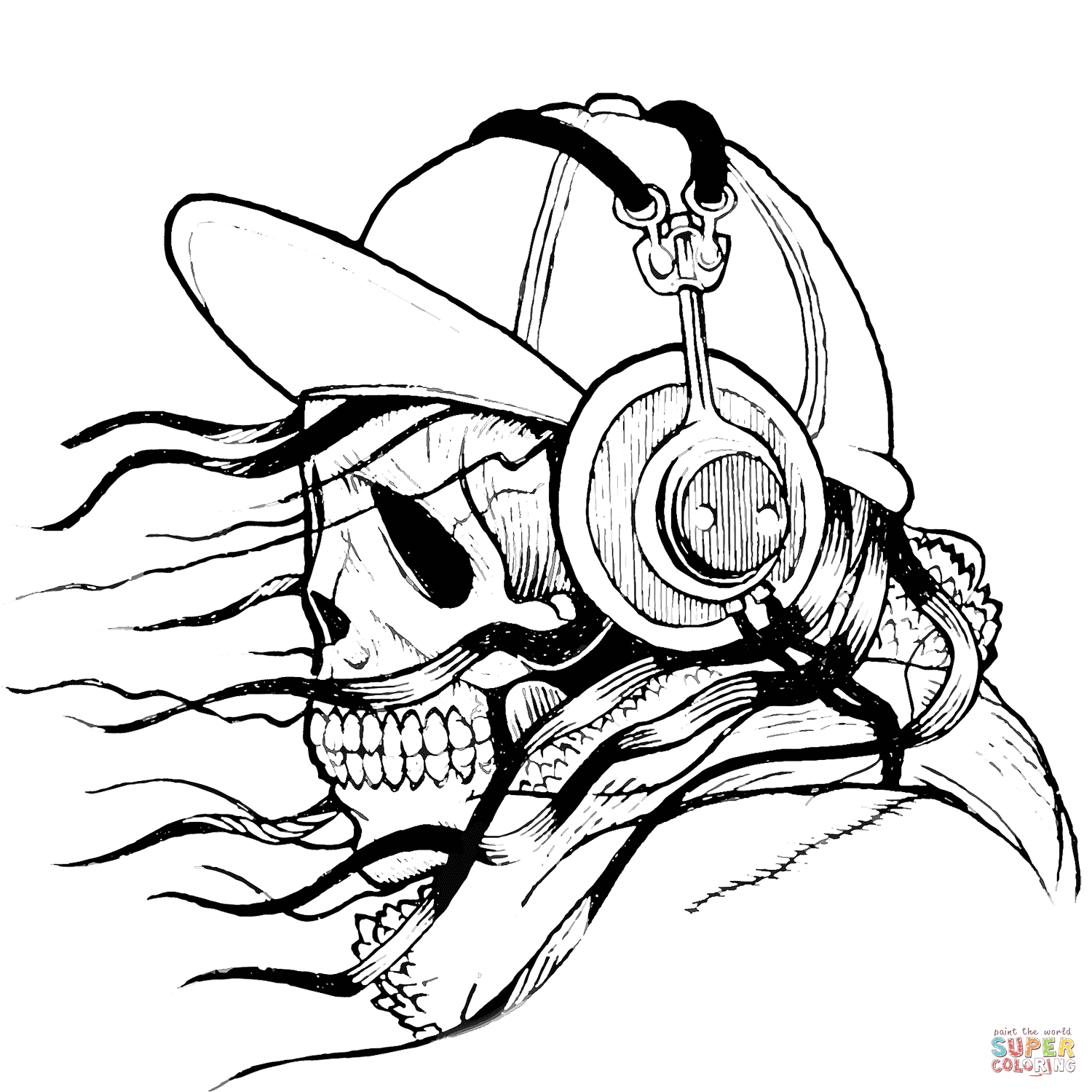1500x1500 Skull In Cap And Headphones Coloring Page Free Printable