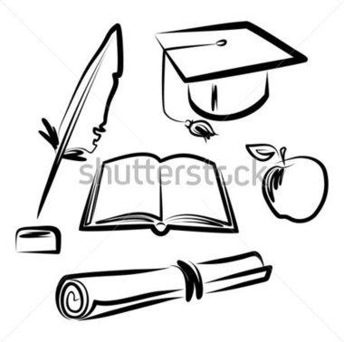 380x378 Cap And Gown Drawing