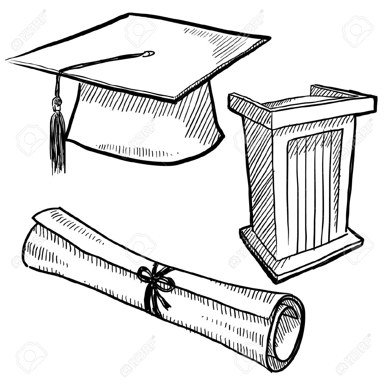 1300x1300 Doodle Style Graduation Or School Vector Illustration With Cap