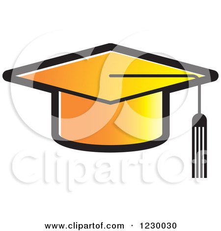 450x470 Clipart Of A Gradient Orange Mortar Board Graduation Cap Icon
