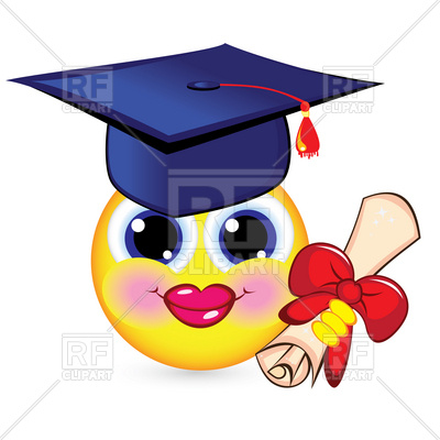 400x400 Cheerful Smiley Graduate With Mortarboard And Diploma Royalty Free