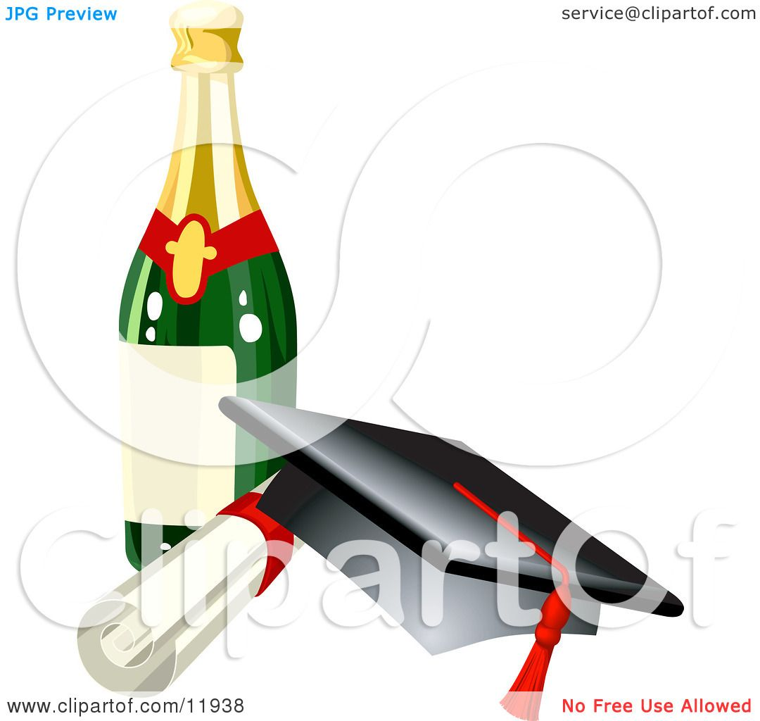1080x1024 Graduation Cap, Red Tassel, Diploma and Wine Bottle Clipart