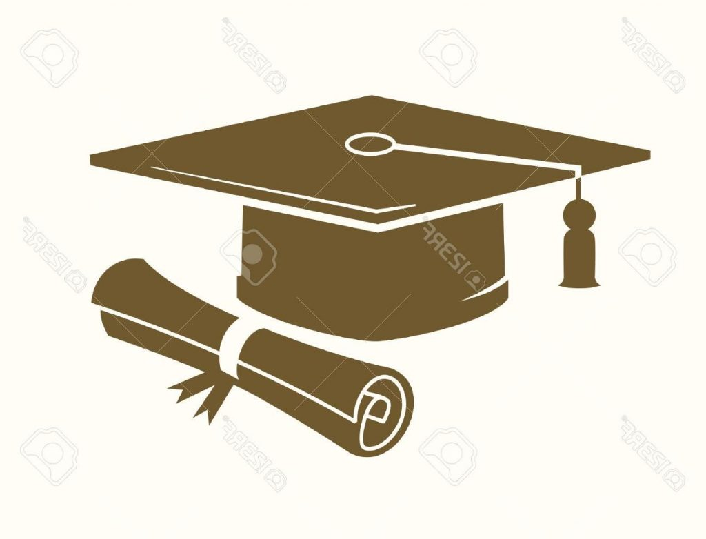 1024x782 HD Vector Graduation Cap And Diploma Icon On Beige Stock File Free