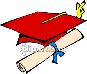300x257 Red Graduation Hat and Diploma Royalty Free Clipart Picture