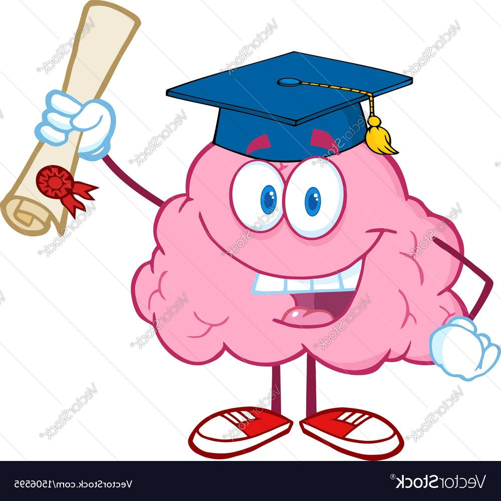 1000x1001 Best Brain Character Graduate Holding Up Diploma Vector Design