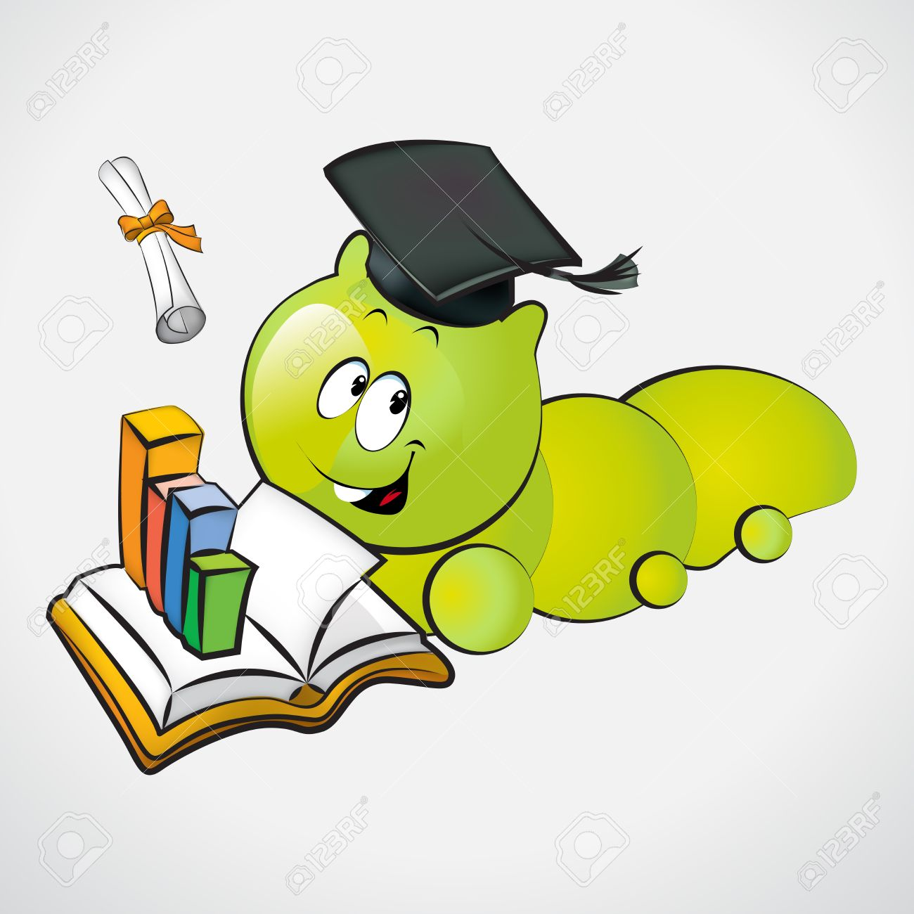 1300x1300 Bookworm With Graduation Cap And Holding A Diploma Royalty Free