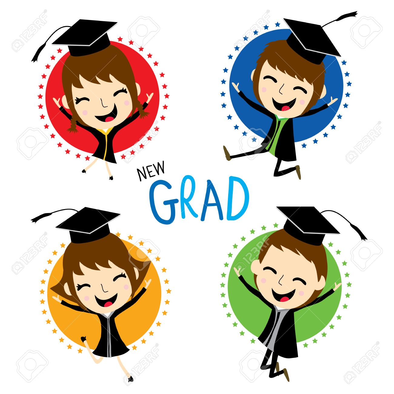 1300x1300 Congratulation New Graduate Cute Cartoon Vector Royalty Free