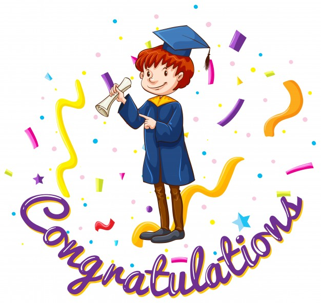 626x591 Congratulations card template with man in graduation gown Vector