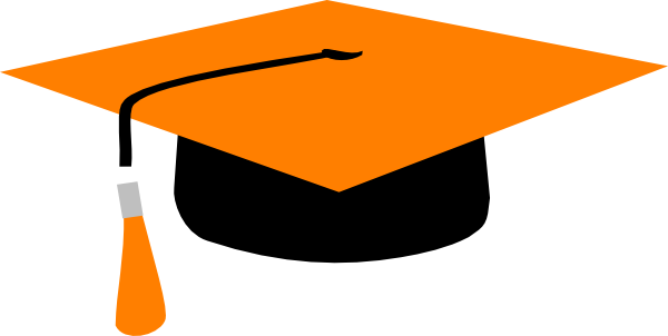 600x302 Orange Mortarboard Clip Art