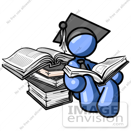 450x450 Clip Art Graphic Of A Blue Guy Character In A Graduation Cap