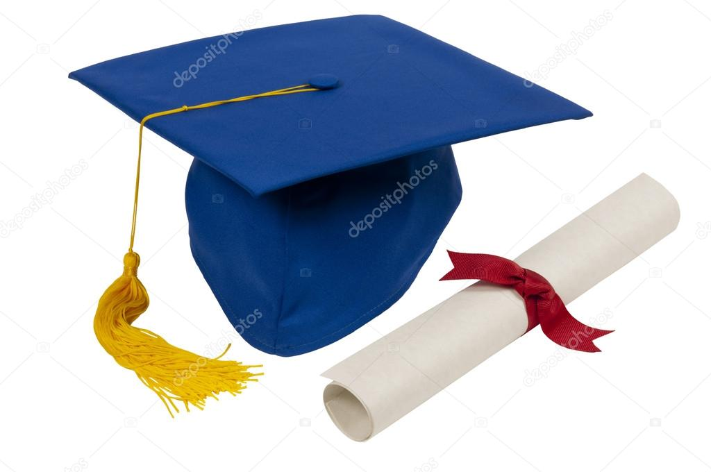 1024x680 Blue Graduation Hat With Diploma — Stock Photo © whitestar1955