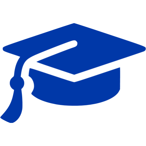 512x512 Royal Azure Blue Graduation Cap Icon
